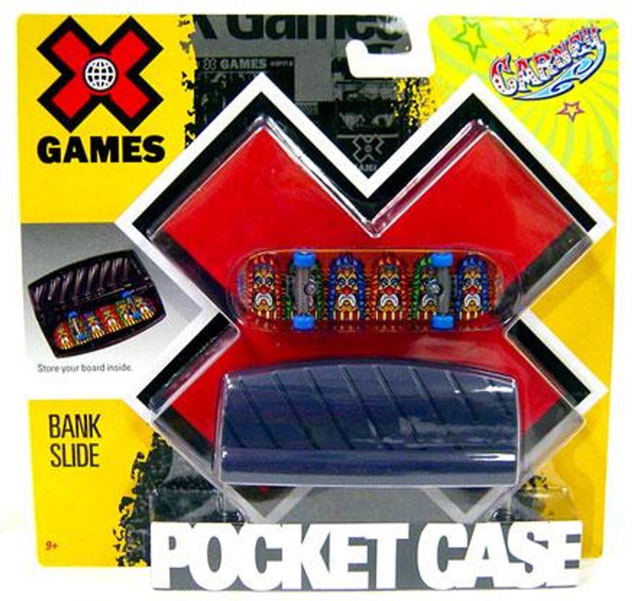 X Games Extreme Sports Bank Slide Mini Skateboard Pocket Case