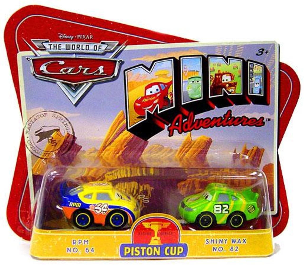 Disney Cars The World of Cars Mini Adventures Piston Cup Plastic Car 2-Pack [RPM No. 64 & Shiny Wax No. 82]