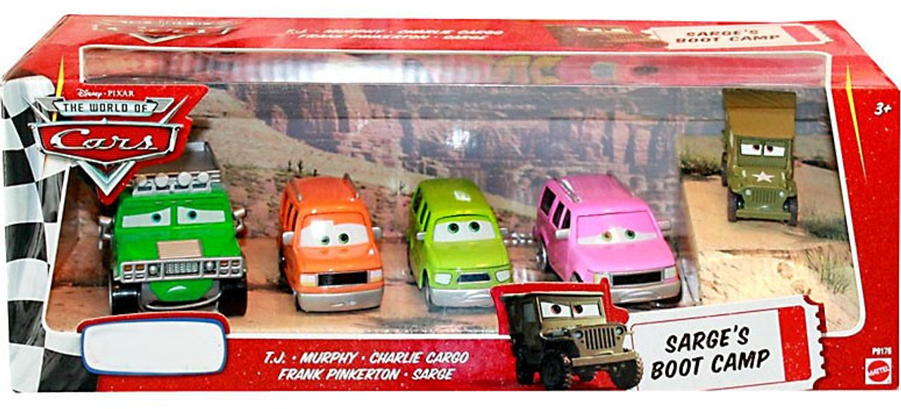 Disney Cars The World of Cars Sarge's Boot Camp 4-Pack Exclusive Diecast Car Set