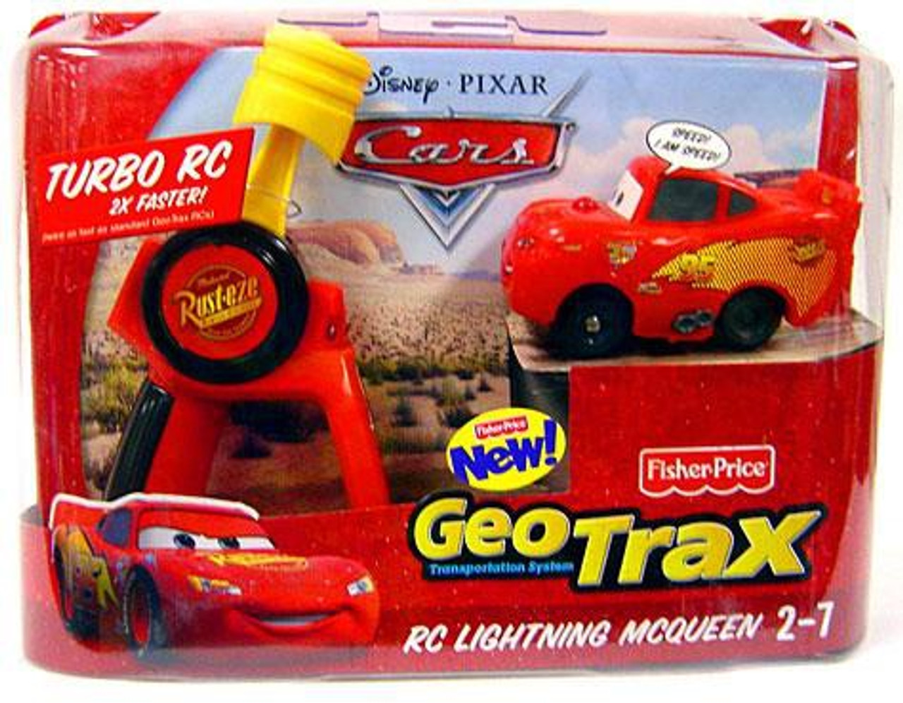 Fisher Price Disney Cars GeoTrax RC Lightning McQueen Remote Control Car