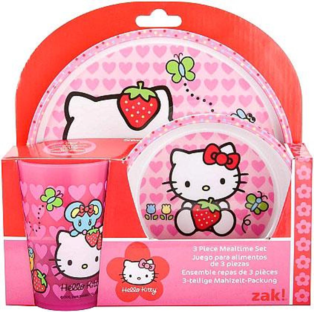 Hello Kitty 3-Piece Mealtime Set [Plate, Bowl & Tumbler]