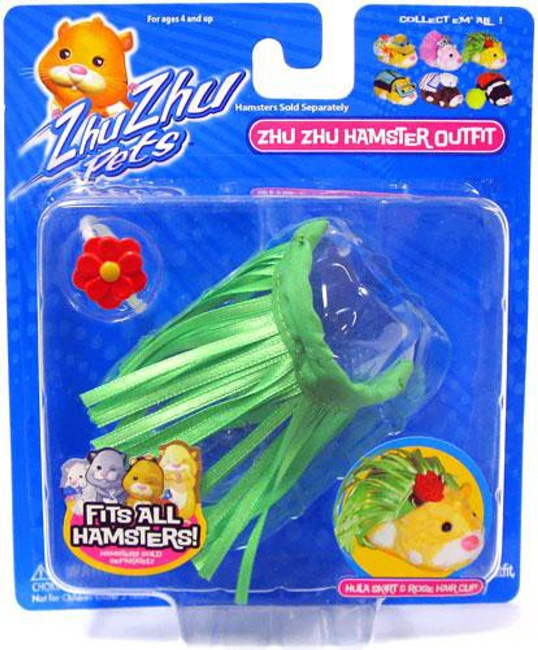 Zhu Zhu Pets Series1 Hamster Outfit Hula Skirt & Rose Hair Clip Accessory Set