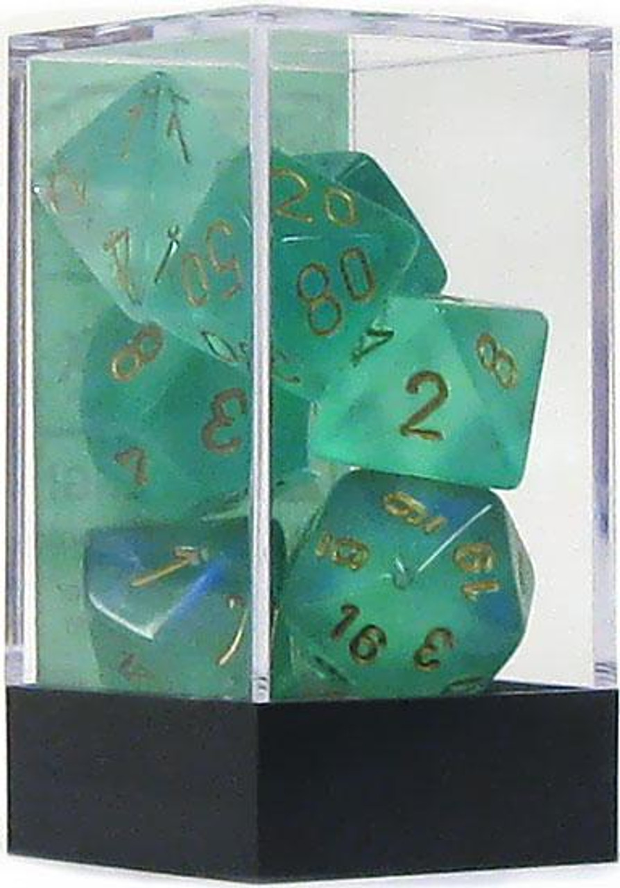 Chessex Borealis Polyhedral Dice [Light Green w/Gold]