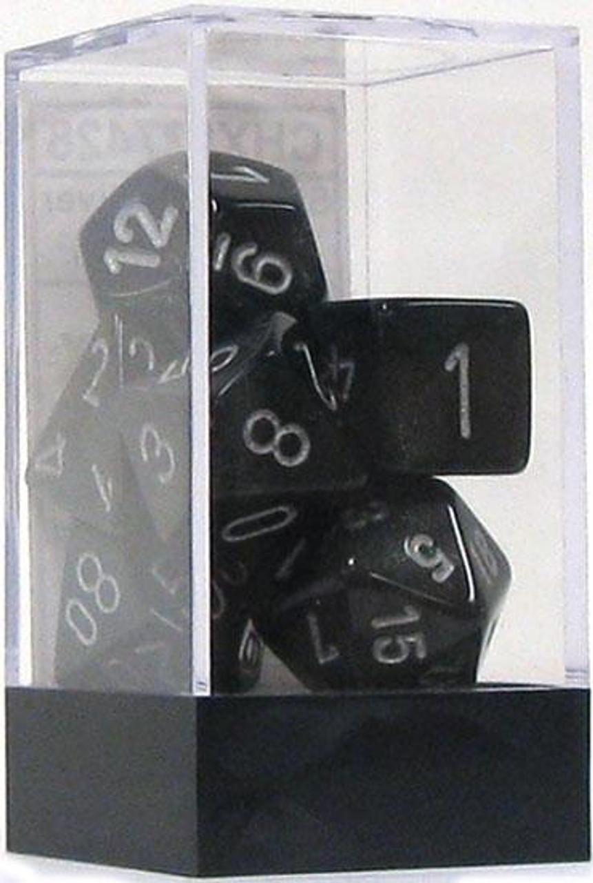 Chessex Borealis Polyhedral Dice [Smoke w/Silver]