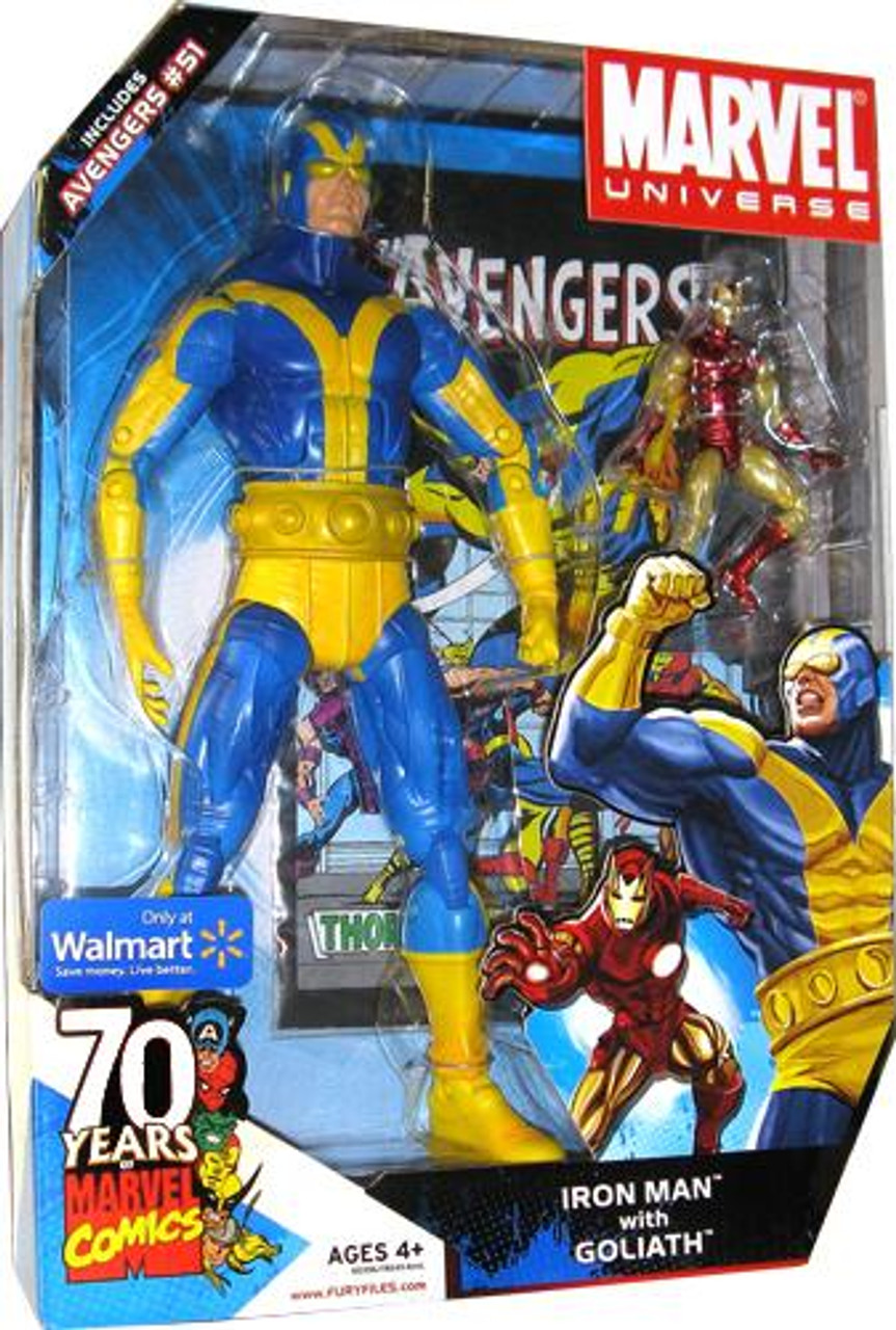 Marvel Universe 70 Years of Marvel Comics Iron Man with Goliath Exclusive Action Figure Set #51] [Blue & Yellow]