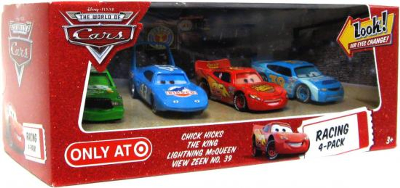 Disney Cars The World of Cars Racing 4-Pack Chick, King, McQueen & View Zeen Exclusive Diecast Car Set