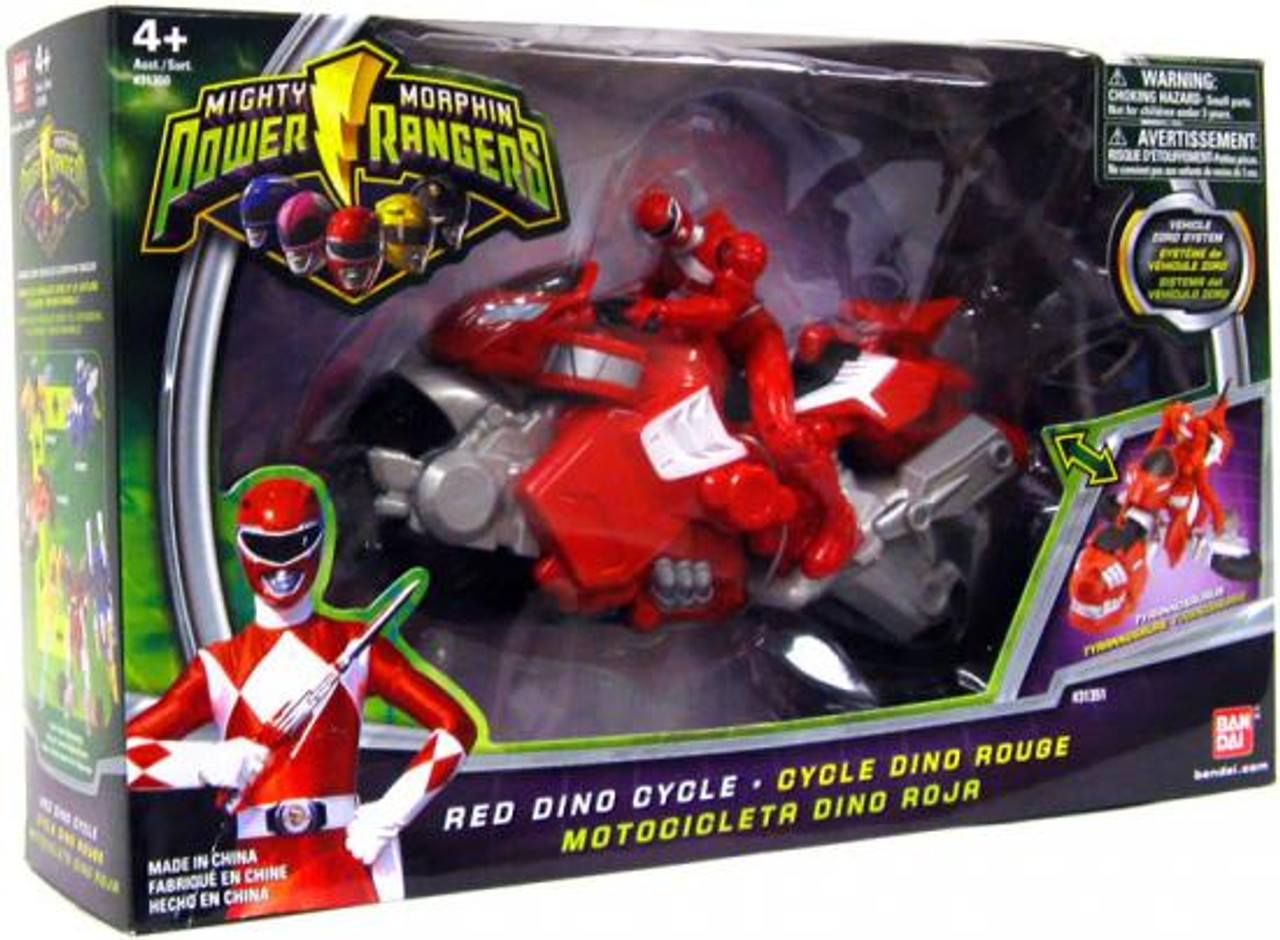 Power Rangers Mighty Morphin Red Dino Cycle Action FIgure Vehicle
