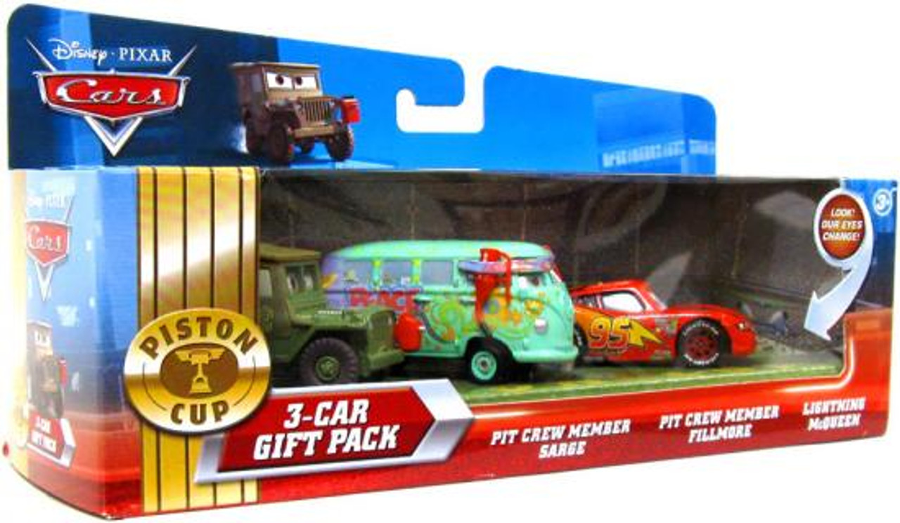 Disney Cars Piston Cup 3-Car Gift Pack Diecast Car Set [McQueen Pit Crew]