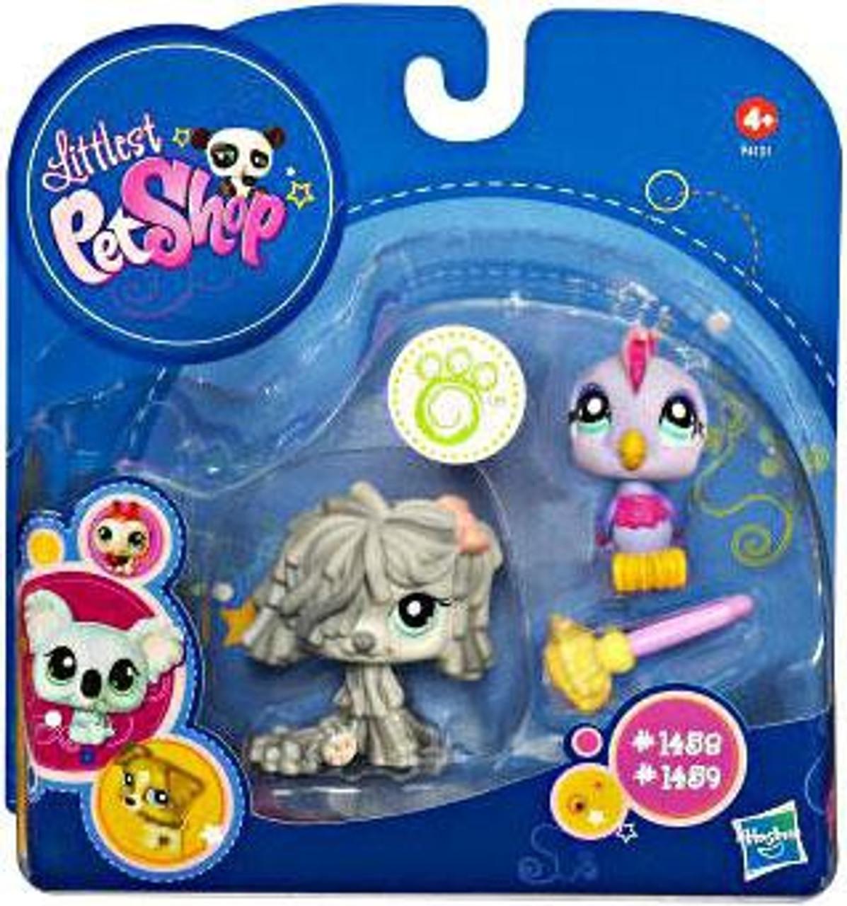 Littlest Pet Shop 2010 Assortment A Series 3 Mopdog & Bird Figure 2-Pack #1458, 1459 [Mop]