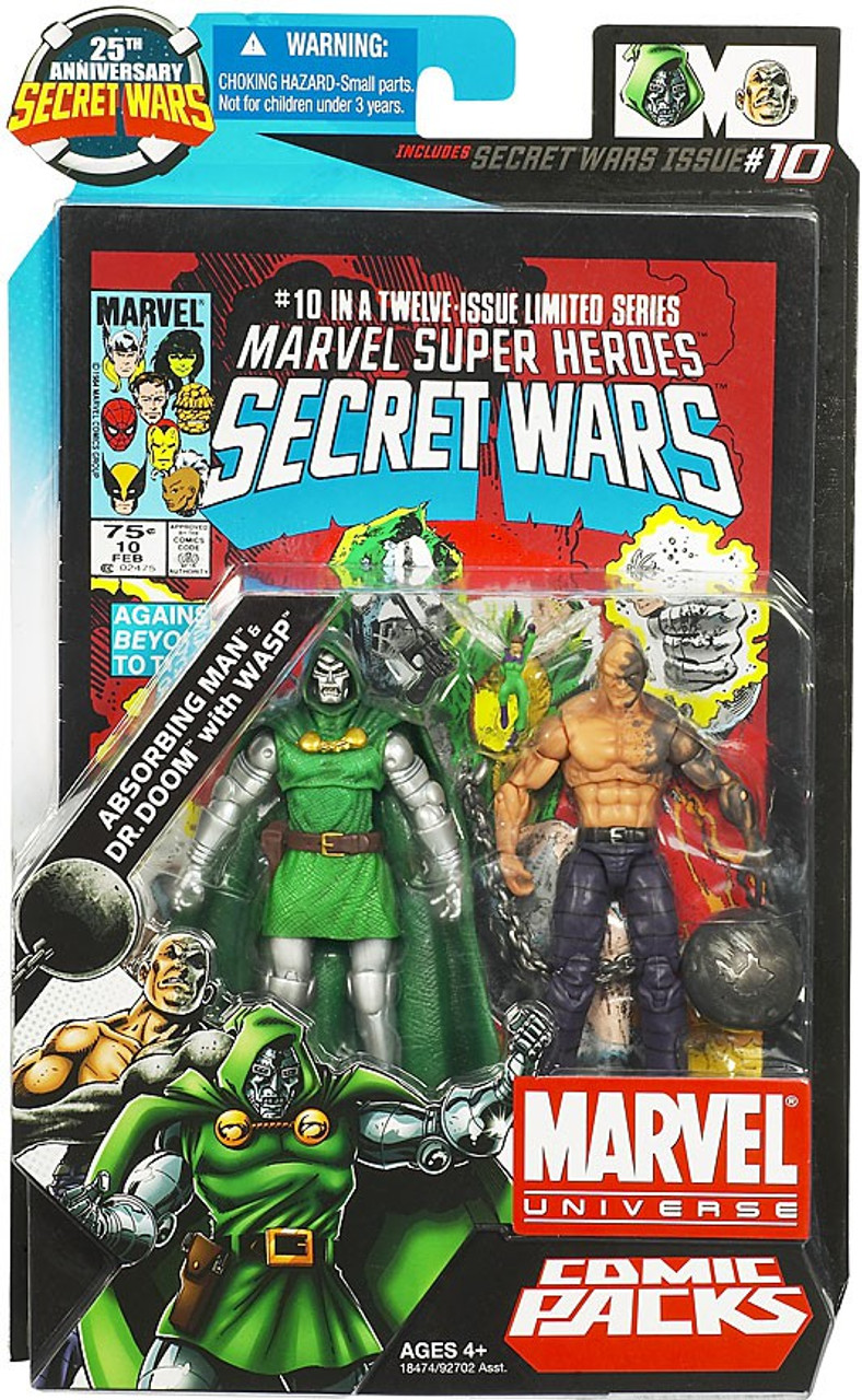 Marvel Universe 25th Anniversary Secret Wars Comic Packs Absorbing Man & Dr. Doom with Wasp Action Figure 2-Pack #10