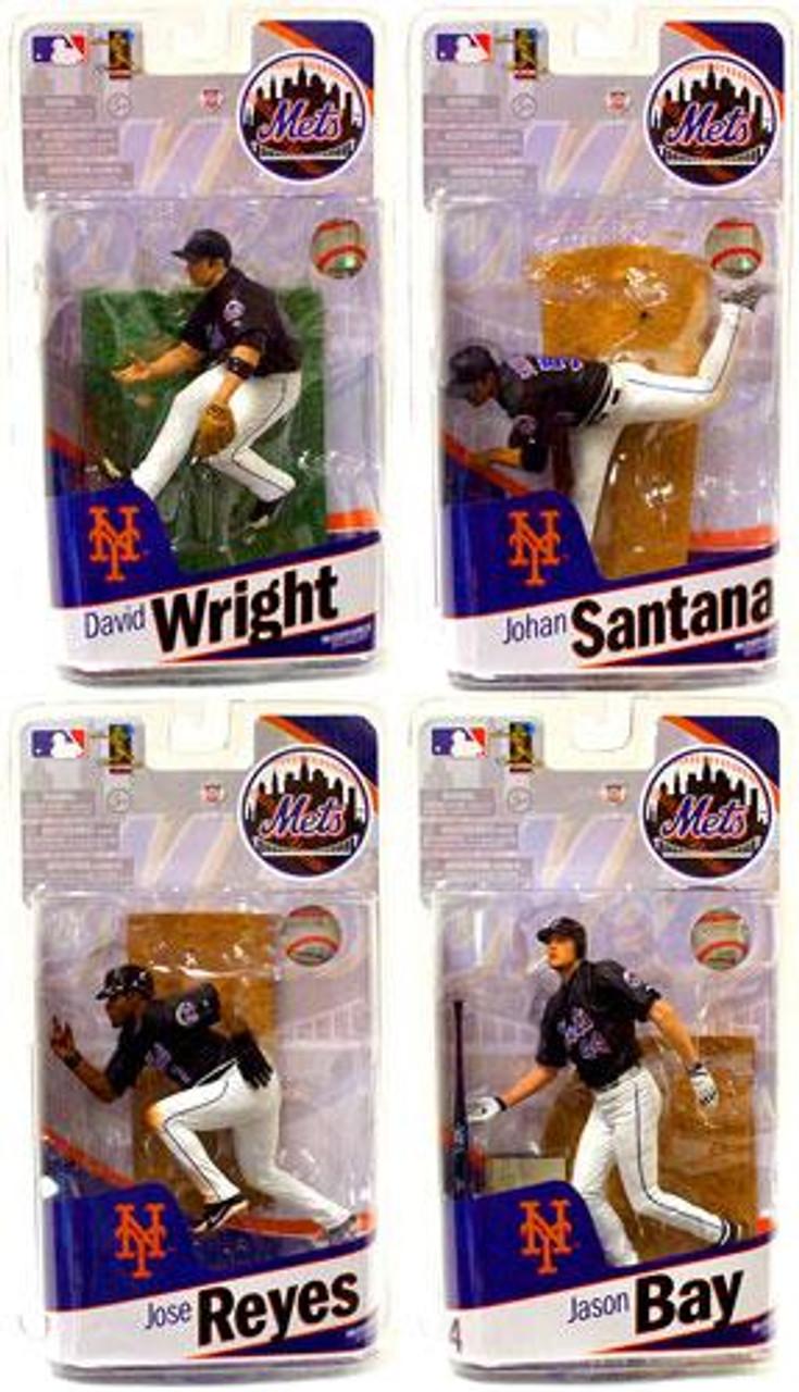 McFarlane Toys MLB Sports Picks 2010 New York Mets Set of 4 New York Mets Action Figures Action Figures [[Jason Bay, Johan Santana, Jose Reyes & David Wright]]