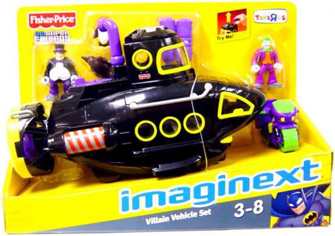 Fisher Price DC Super Friends Batman Imaginext Villain Vehicle Set Exclusive 3-Inch Figure Set