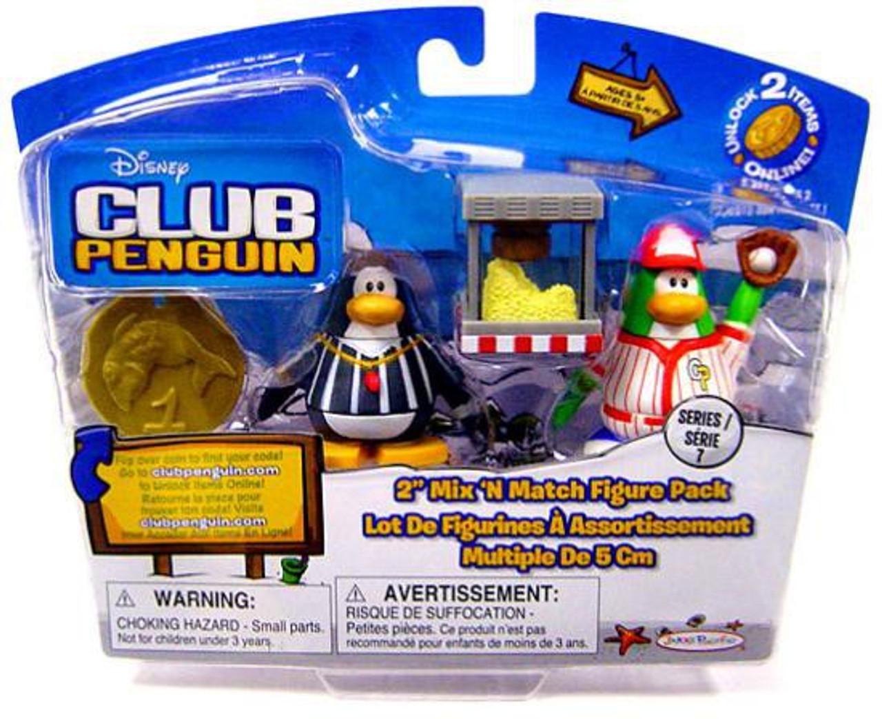 Club Penguin Mix 'N Match Series 7 Baseball Player & Referee Mini Figure Set