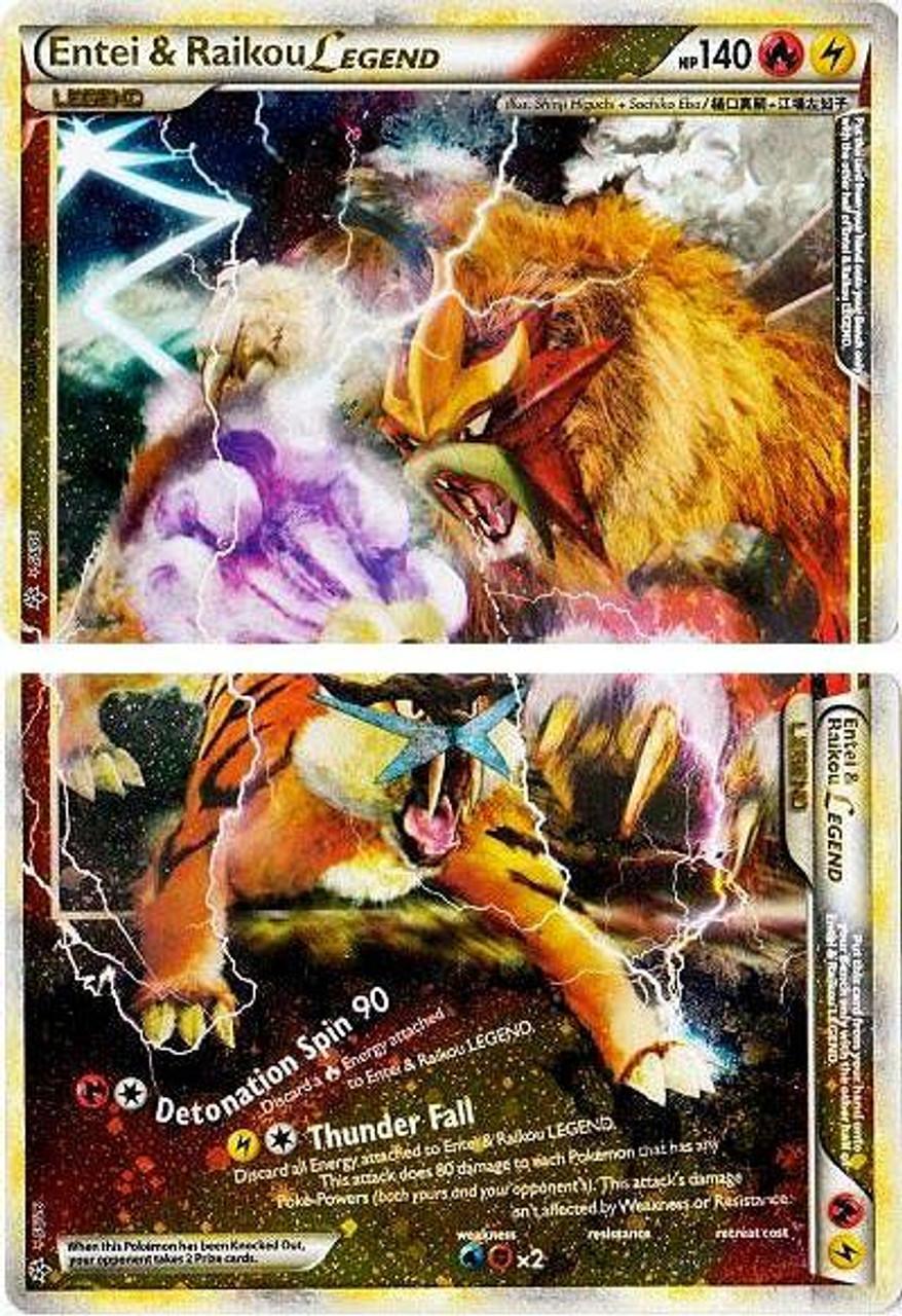 Pokemon HeartGold & Soulsilver Unleashed Ultra Rare Holo LEGEND Entei & Raikou LEGEND #90 & 91