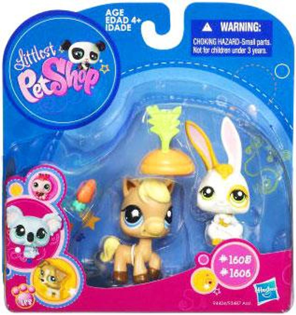 Littlest Pet Shop 2010 Assortment A Series 4 Horse & Bunny Figure 2-Pack #1605, 1606