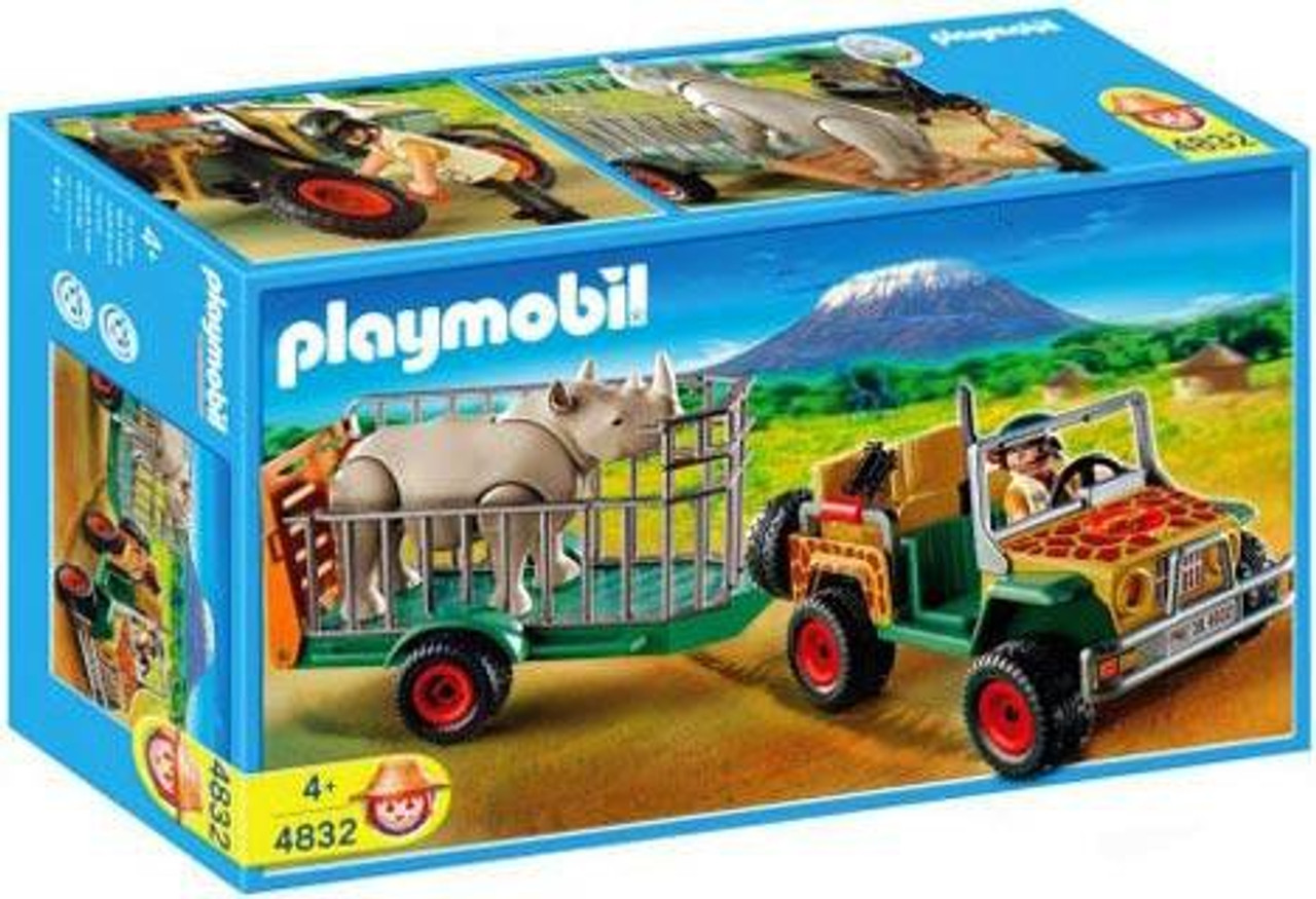 Playmobil Zoo African Wildlife Ranger's Vehicle with Rhino Set #4832