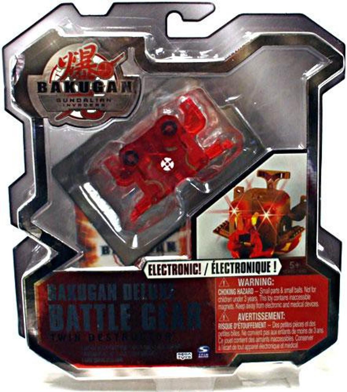Bakugan Gundalian Invaders Deluxe Electronic Battle Gear Pyrus Twin Destructor [Red]