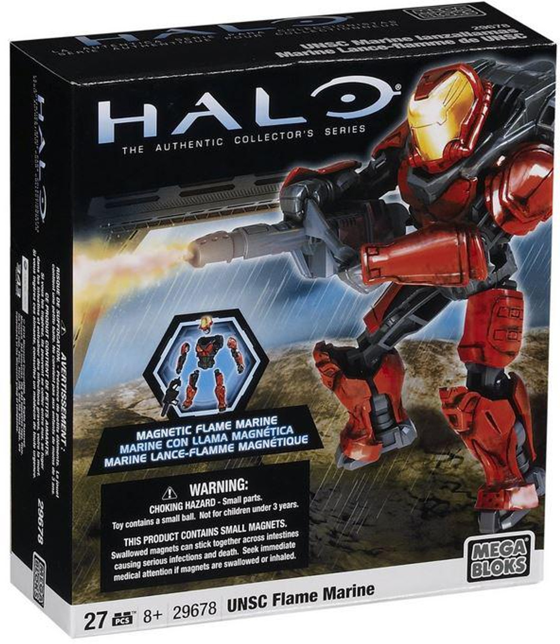 Mega Bloks Halo Magnetic Figures UNSC Flame Marine Set #29678 [Red]