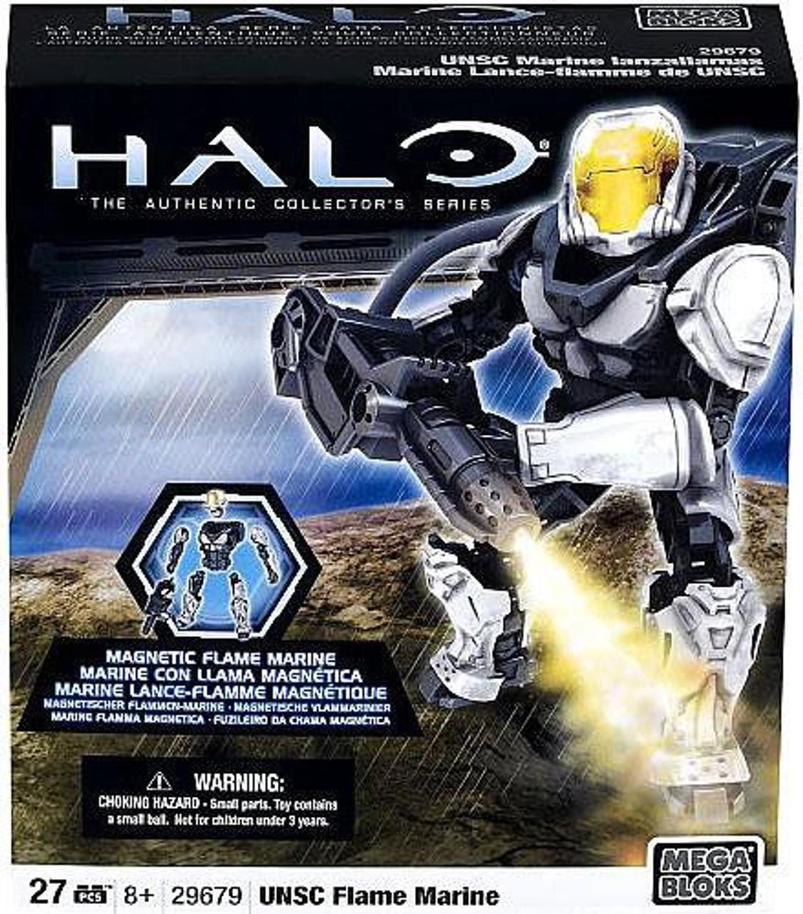 Mega Bloks Halo Magnetic Figures UNSC Flame Marine Set #29679 [Silver]