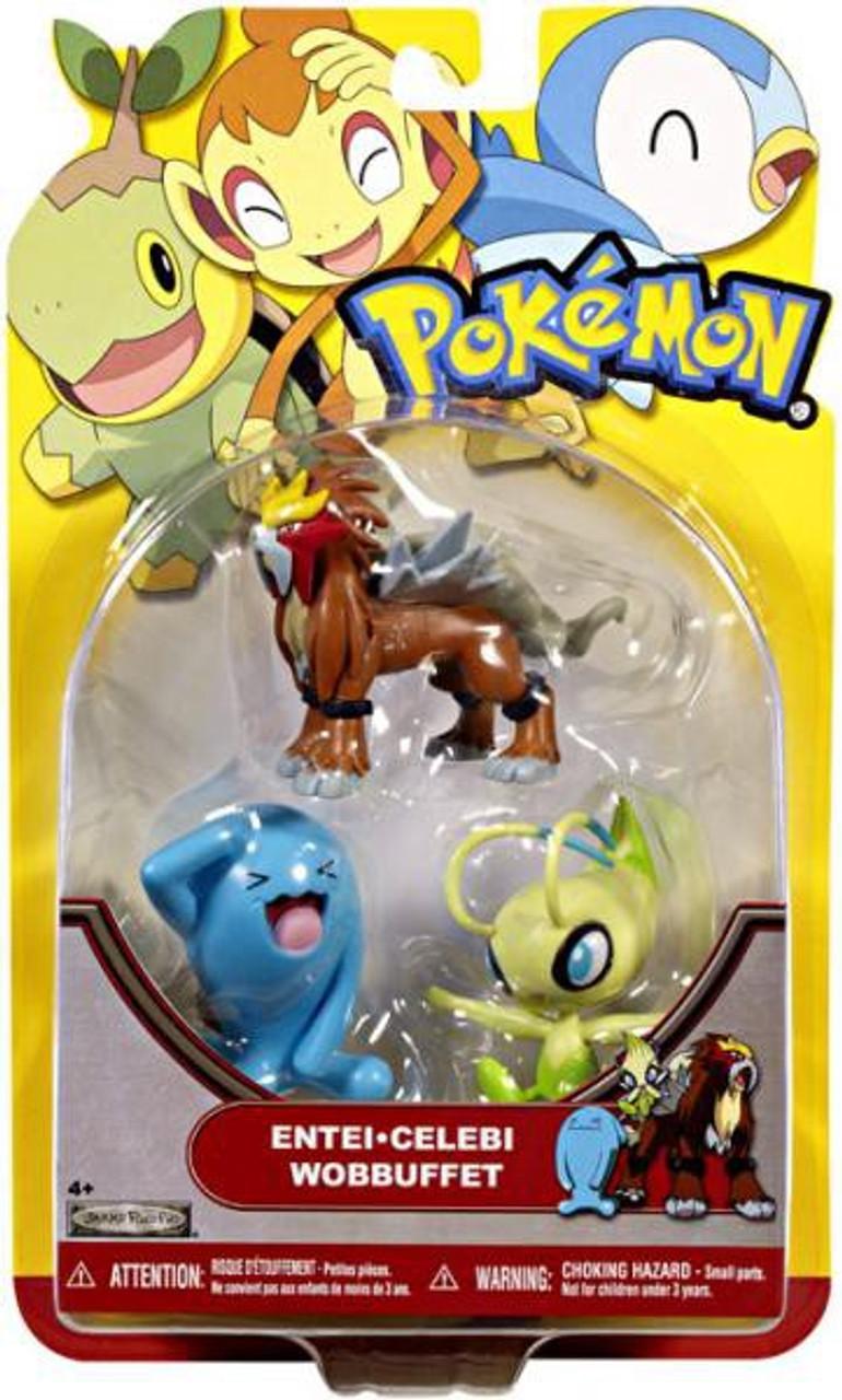 Pokemon HeartGold & Soulsilver Series 19 Entei, Celebi & Wobbuffet Figure 3-Pack