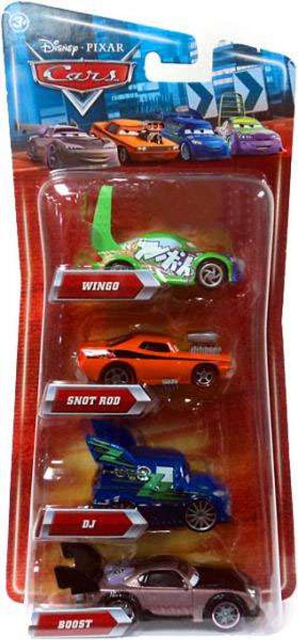 Disney Cars DJ, Wingo, Snot Rod & Boost 4-Pack Exclusive Diecast Car Set