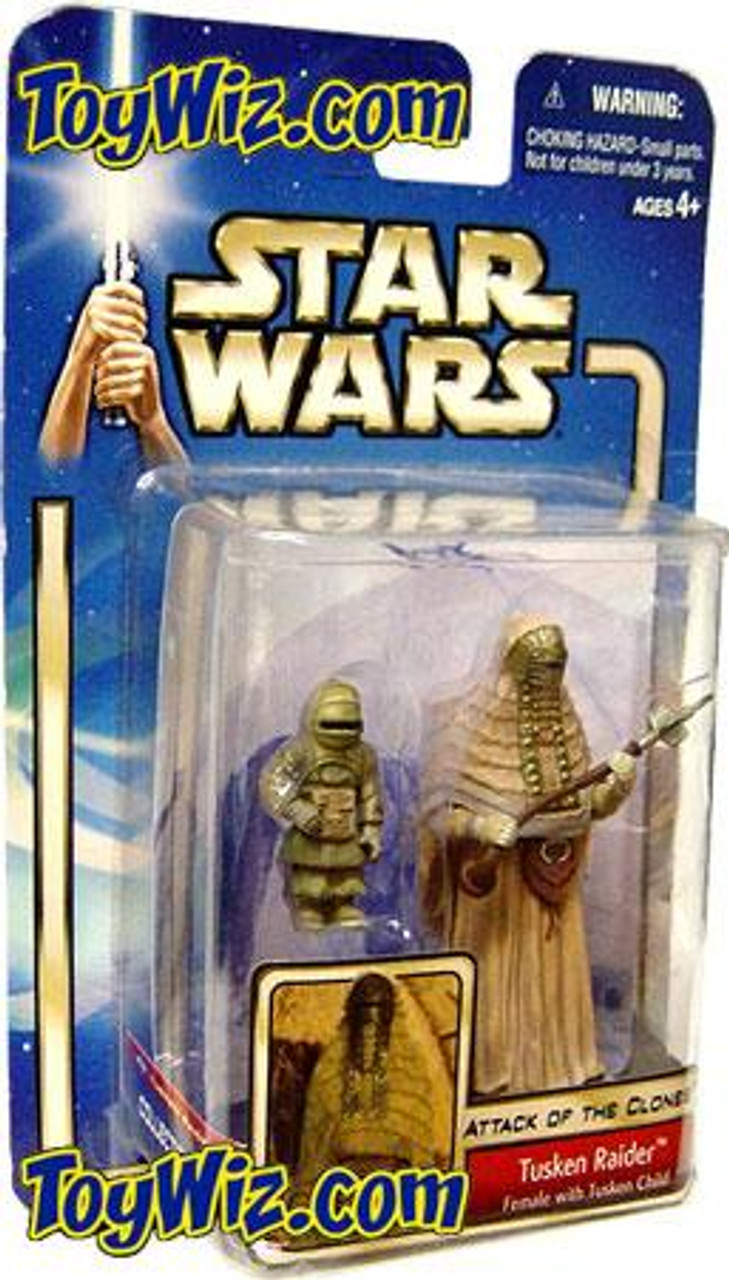 Star Wars Attack of the Clones Basic 2002 Collection 2 Tusken Raider Action Figure 2-Pack #08 [Female With Child]