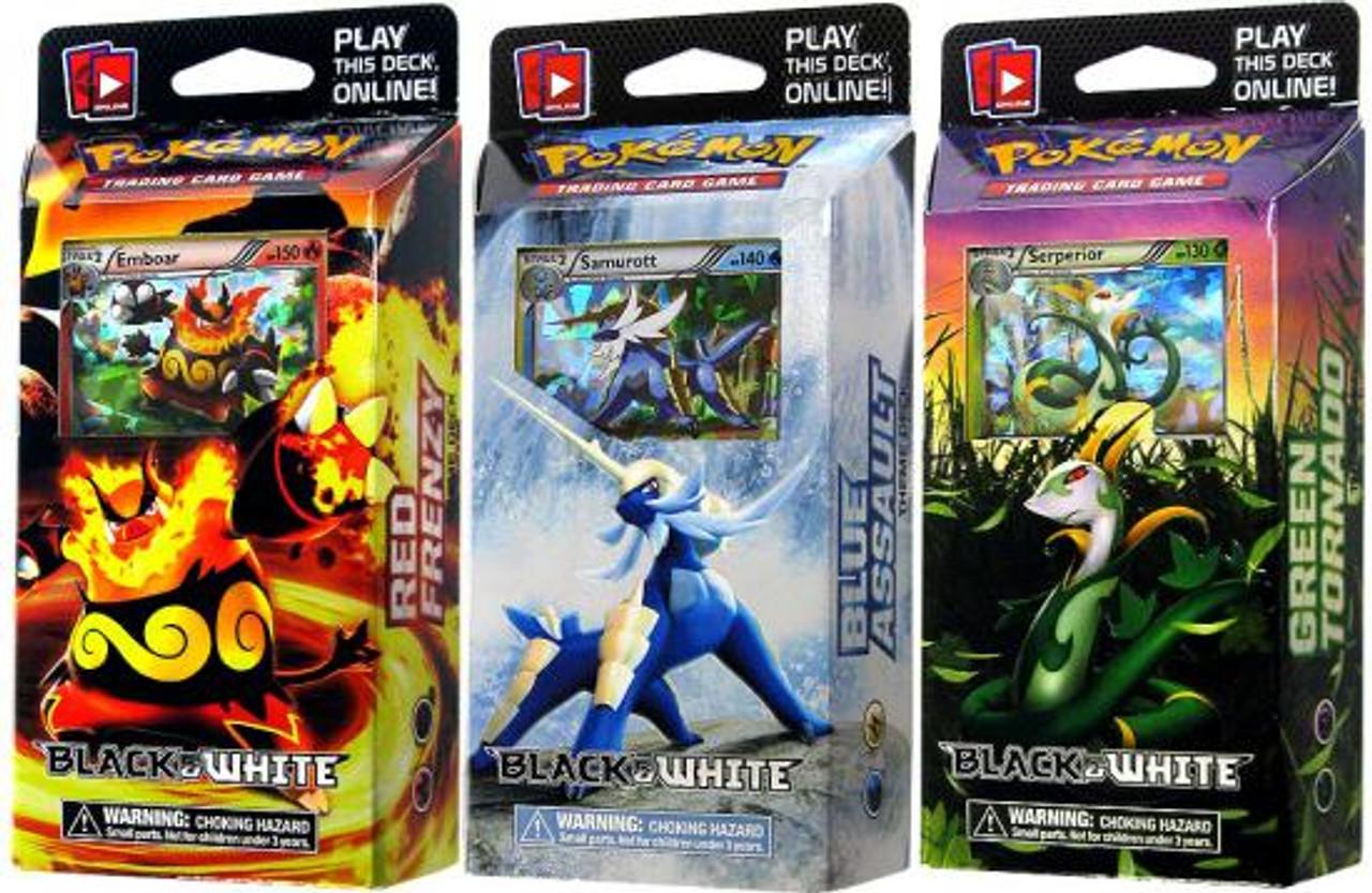 Pokemon Black & White Red Frenzy, Blue Assault & Green Tornado Set of 3 Theme Decks