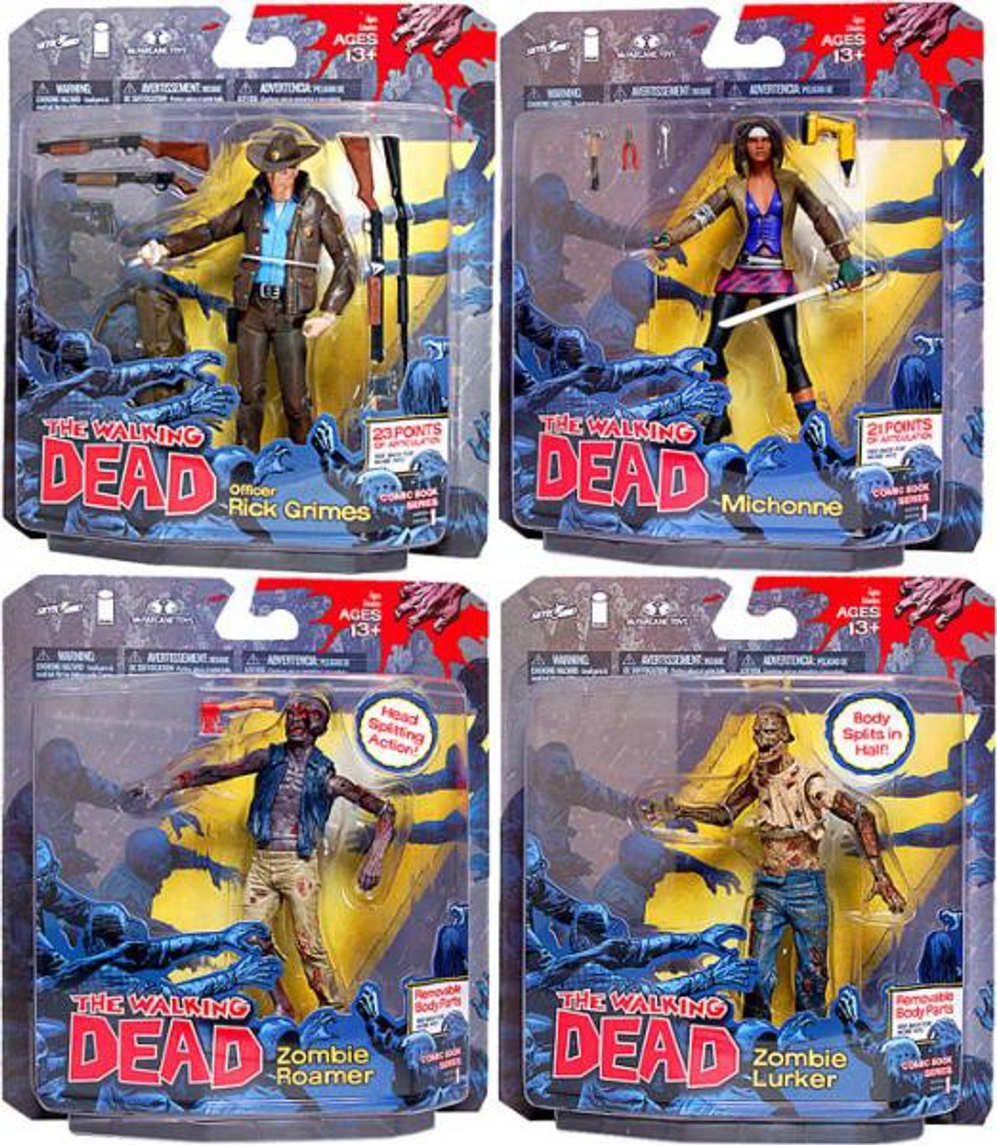 McFarlane Toys Walking Dead Comic Book Series 1 Set of 4 Action Figures