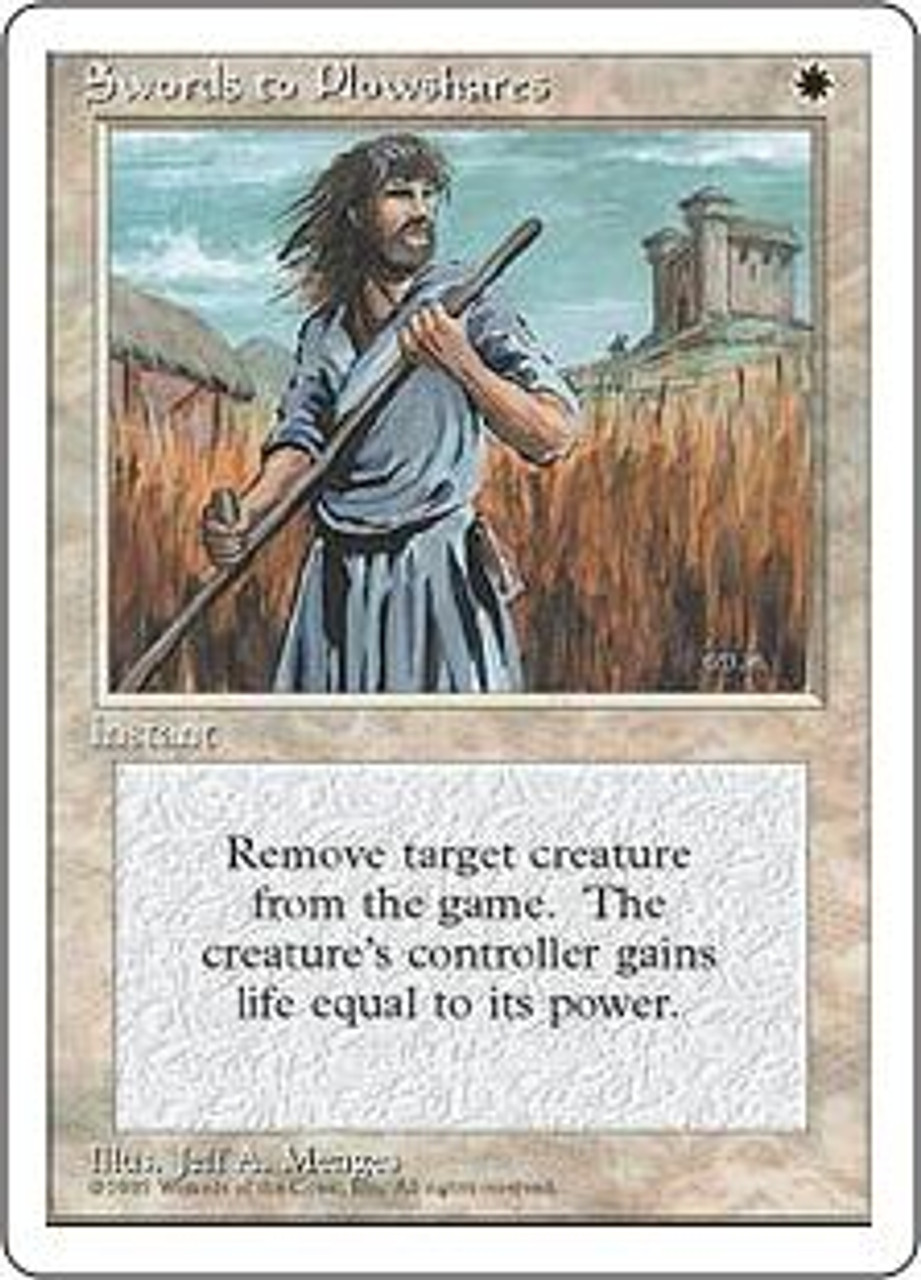 MtG 4th Edition Uncommon Swords to Plowshares [Slightly Played Condition]