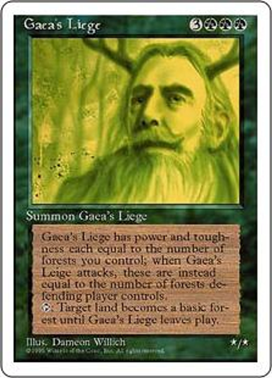 MtG 4th Edition Rare Gaea's Liege [Very Played Condition]
