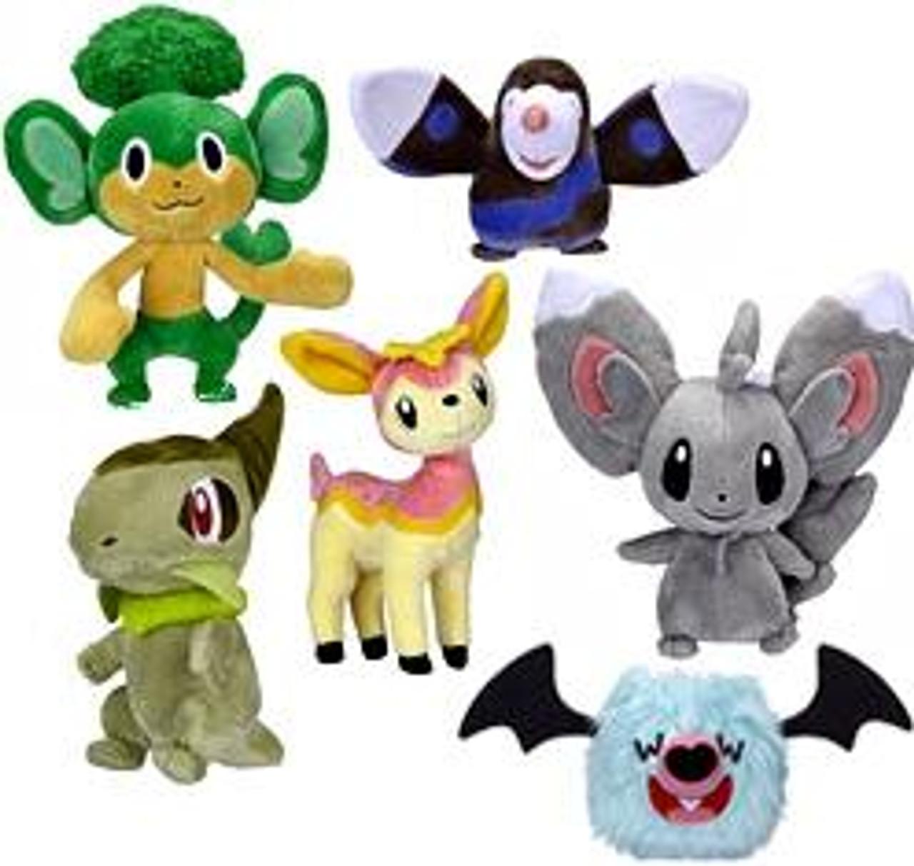 Pokemon Black & White Series 2 Axew, Pansage, Drilbur, Pink Deerling, Woobat & Minccino 5-Inch Set of 6 Plush