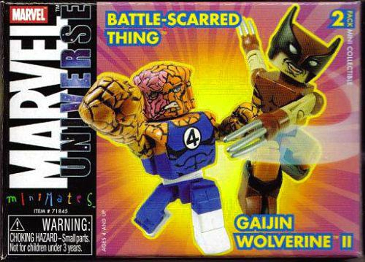 Marvel Universe Minimates Battle-Scarred Thing & Gaijin Wolverine II Minifigure 2-Pack
