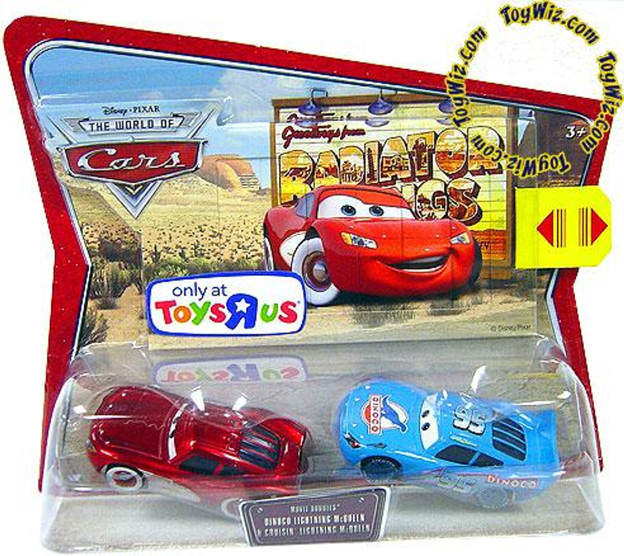 Disney Cars The World of Cars Movie Doubles Dinoco & Cruisin' Lightning McQueen Exclusive Diecast Car 2-Pack