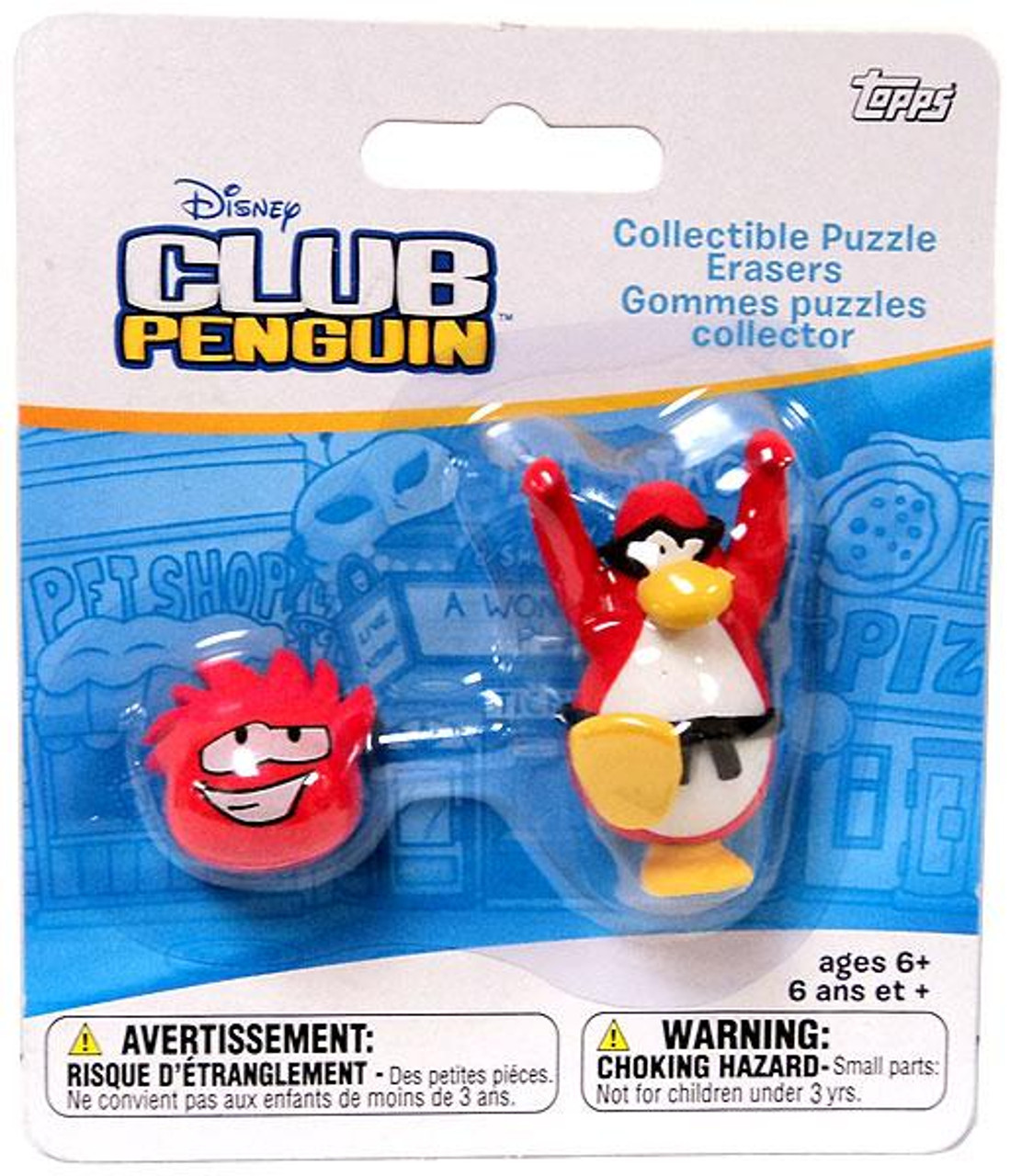 Club Penguin Collectible Puzzle Erasers Red Penguin & Random Puffle Eraser 2-Pack