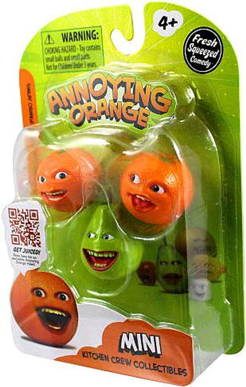 Annoying Orange Kitchen Crew Collectibles Smilin' Orange, Pear & Whoa Orange Mini Figure 3-Pack