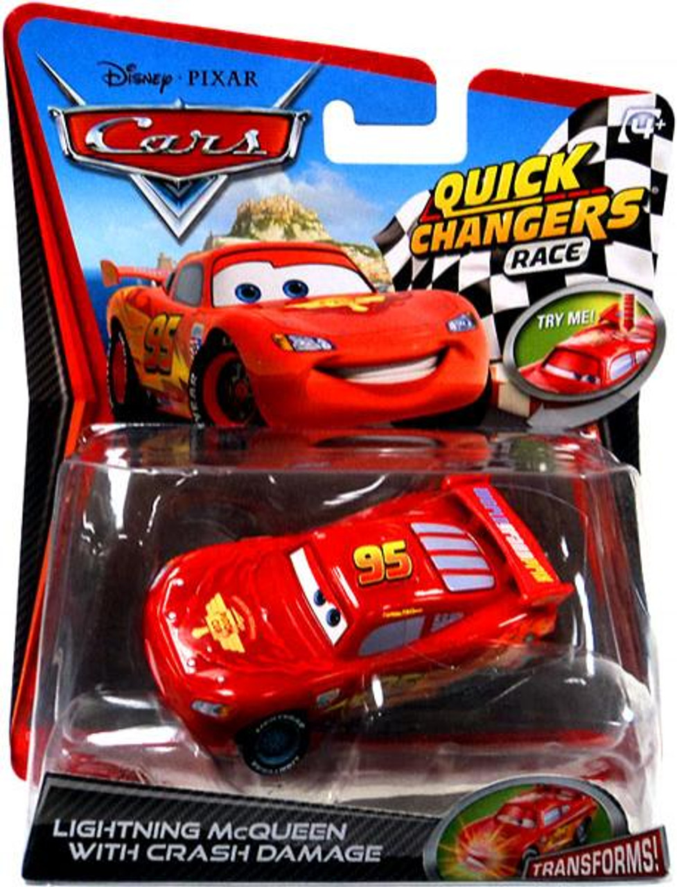 Disney Cars Cars 2 Quick Changers Race Lightning McQueen with Crash Damage Diecast Car