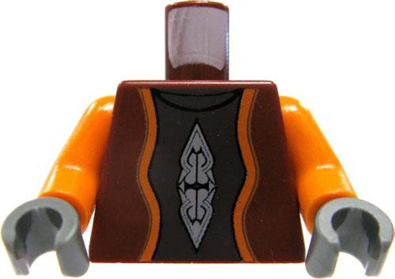 LEGO Dark Red Vest with Orange Sleeves & Printed Details Loose Torso [Loose]