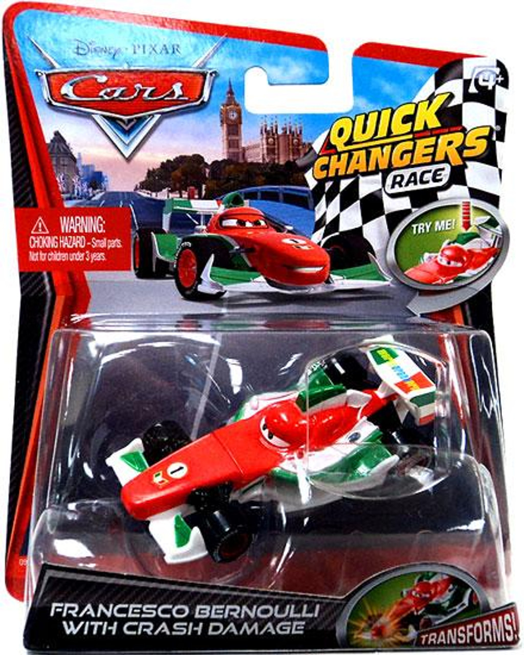 Disney Cars Cars 2 Quick Changers Race Francesco Bernoulli with Crash Damage Diecast Car