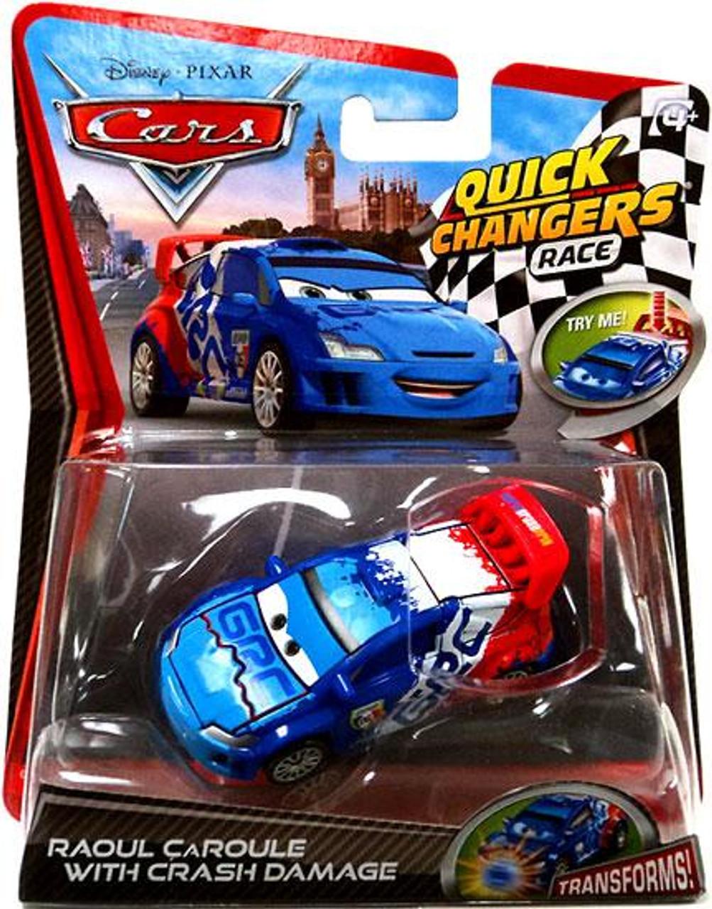 Disney Cars Cars 2 Quick Changers Race Raoul Caroule with Crash Damage Diecast Car