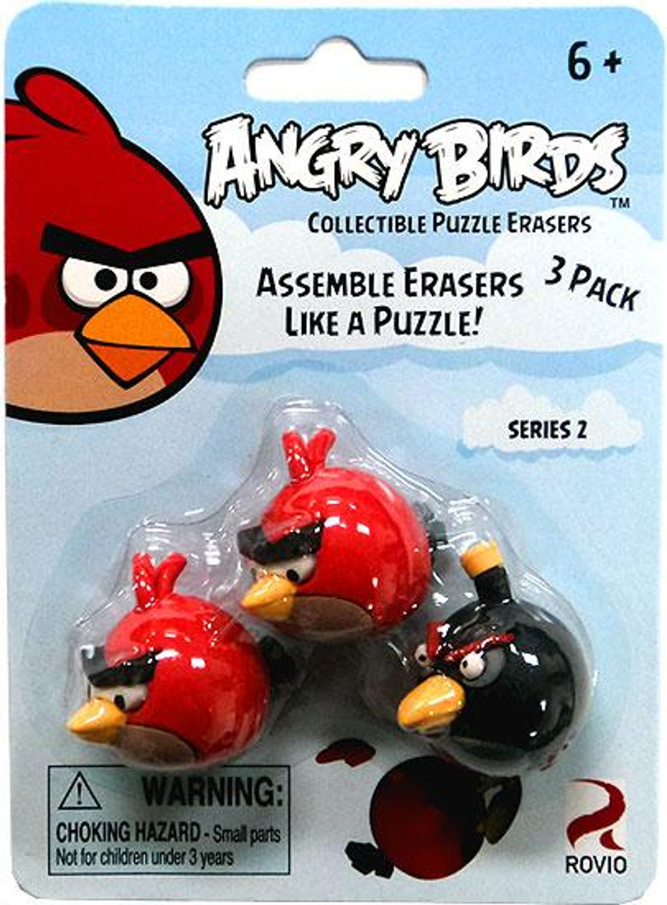 Collectible Puzzle Erasers Series 2 Angry Birds Eraser 3-Pack [2 Red & 1 Black]