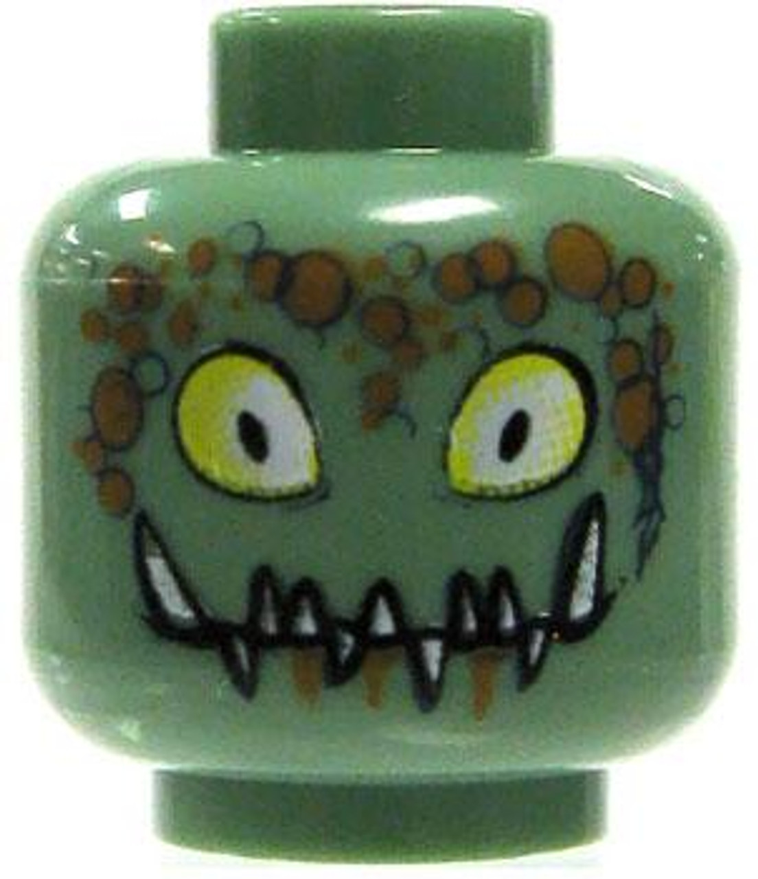 LEGO Minifigure Parts Sand Green with Yellow Eyes & Jagged Fangs Minifigure Head [Loose]