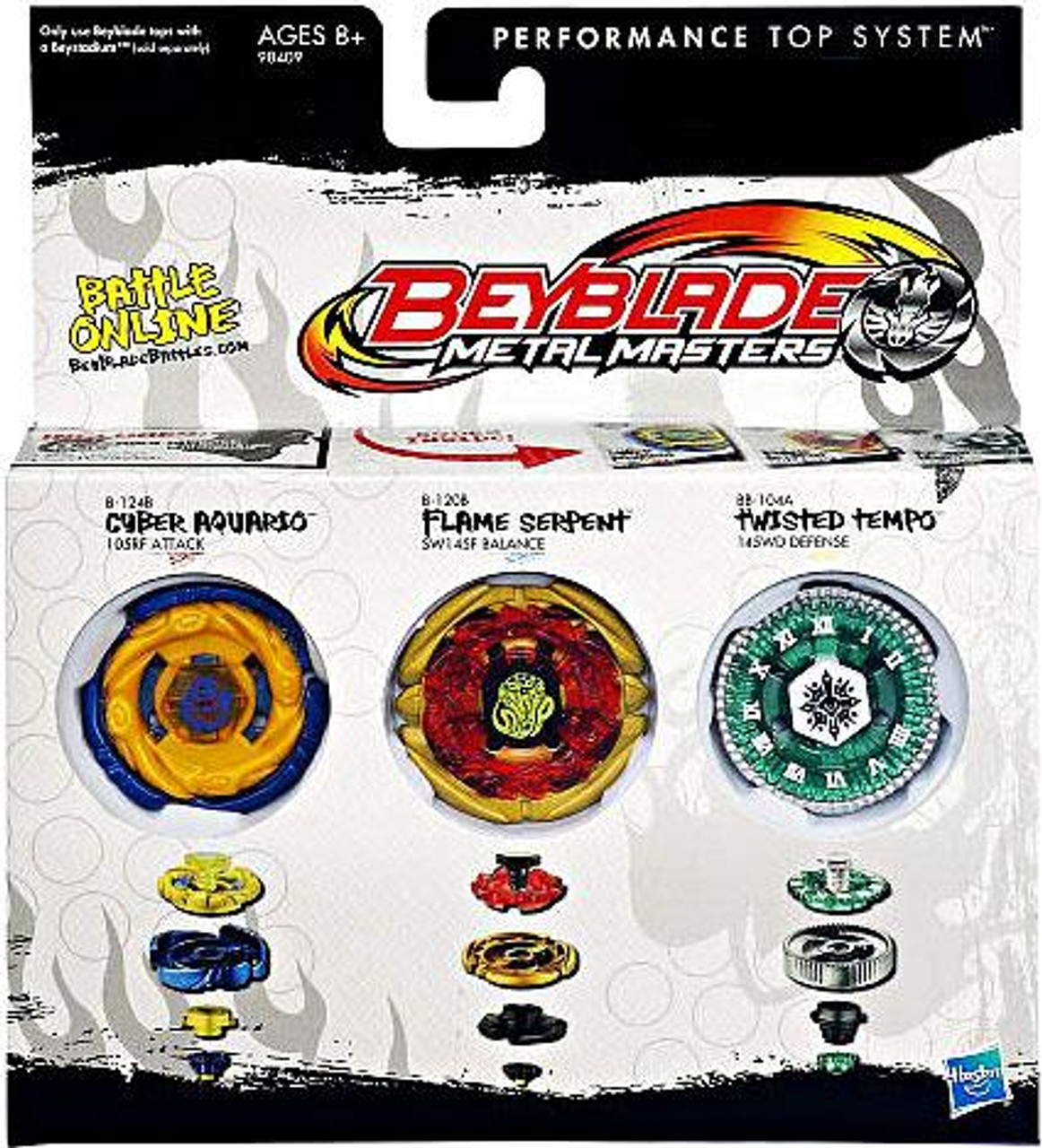 Beyblade Metal Masters Cyber Aquario, Flame Serpent & Twisted Tempo Exclusive 3-Pack