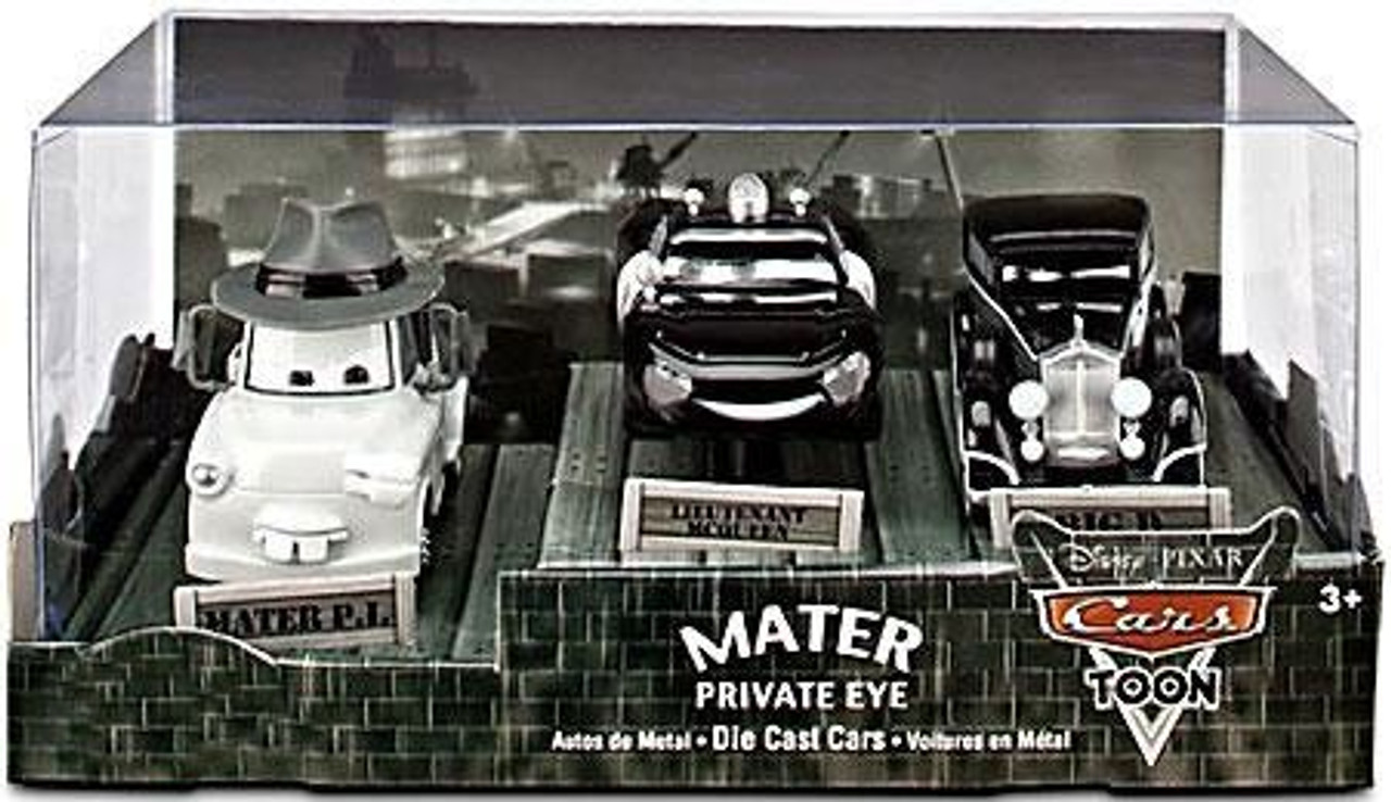 Disney Cars Cars Toon 1:43 Multi-Packs Mater Private Eye Exclusive Diecast Car Set