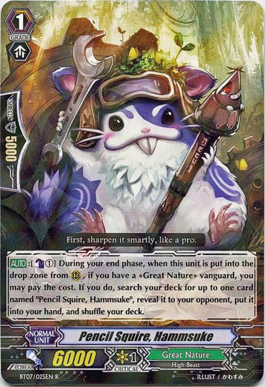 Cardfight Vanguard Rampage of the Beast King Rare Pencil Squire, Hammsuke BT07-025
