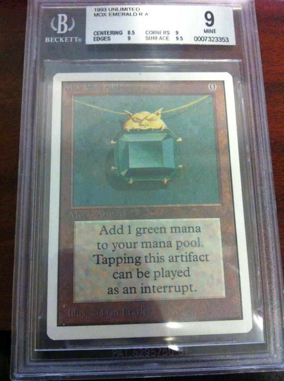 MtG Unlimited Rare Mox Emerald [BGS Graded 9]