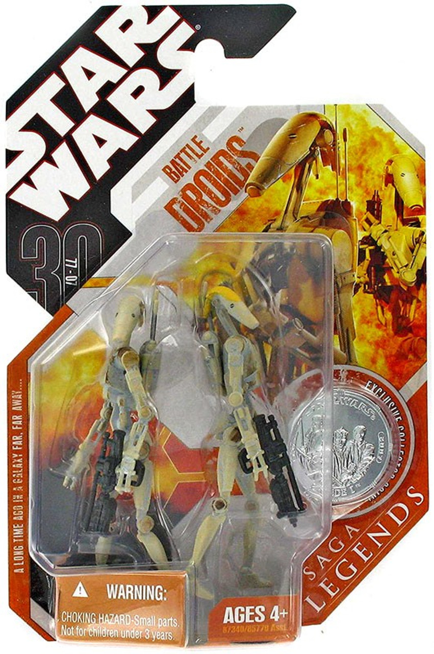 Star Wars The Phantom Menace Saga Legends 2007 30th Anniversary Battle Droid & Battle Droid Commander Action Figure 2-Pack #9 [Yellow Stripe]