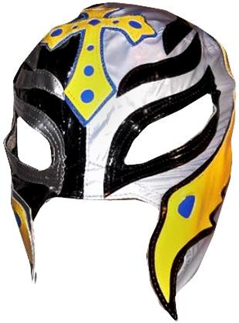 WWE Wrestling Costumes Rey Mysterio Replica Mask [Black, Silver & Yellow]