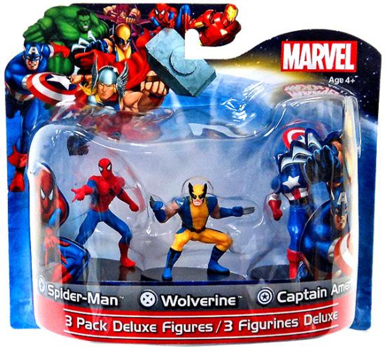 Marvel 4 Inch Deluxe Figures Spider-Man, Wolverine & Captain America PVC Figure 3-Pack