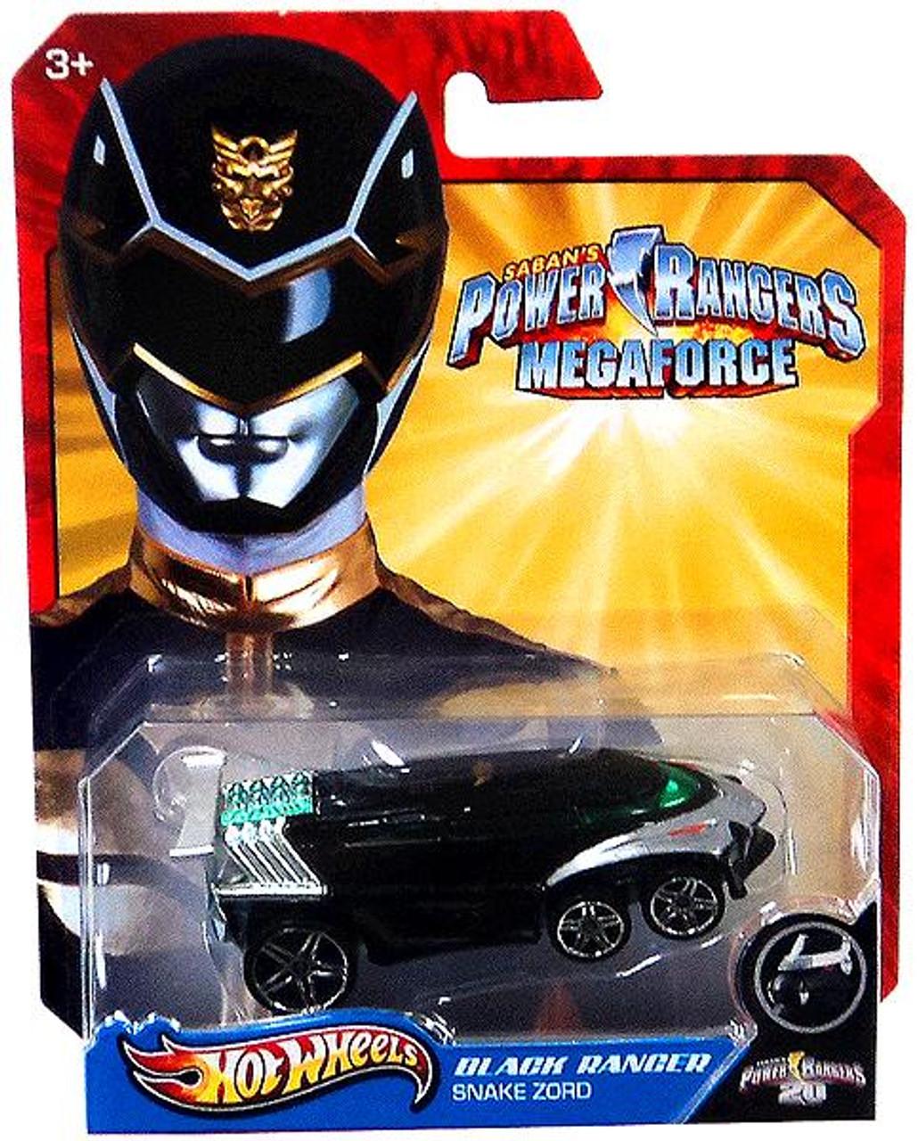 Power Rangers Megaforce Hot Wheels Black Ranger Snake Zord Diecast Car