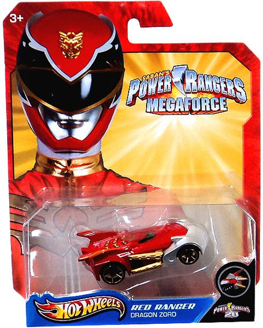 Power Rangers Megaforce Hot Wheels Red Ranger Dragon Zord Diecast Car